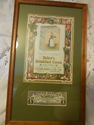 Vintage Walter Baker's Cocoa Framed Litho & Rare Coupon