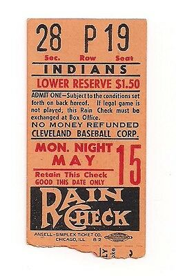 Vintage Cleveland Indians Ticket Stub May 15 19?? $1.50 Lower Reserve Seat