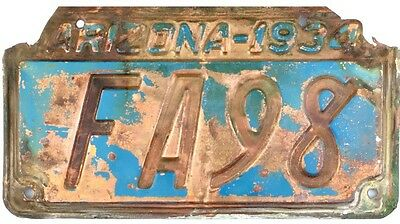 1934 Arizona COPPER License Plate #FA98