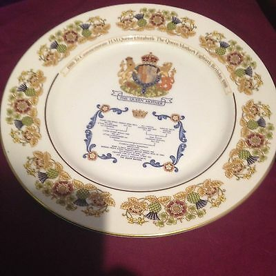 Queen Mother's 80th Birthday Aynsley Plate Collectable