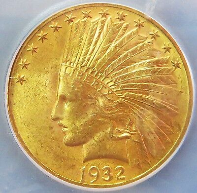 1932 Gold United States $10 Dollar Indian Head Eagle Coin Icg Mint State 63
