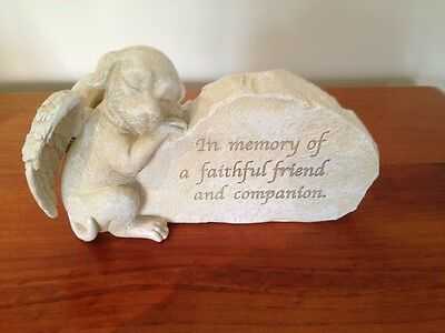 Pet Memorial Dog Statue with Angel's Wings - Resin - New!