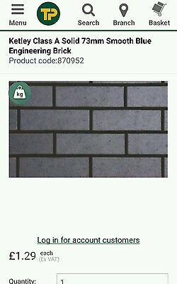 Brand New Ketley Class A Engineering Brick Staffordshire Solid Blue FULL PALLET