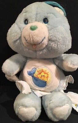 Vintage Care Bears Baby Tugs Bear Stuffed Toy Plush 1983 Kenner With Diaper 11""