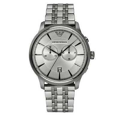 *New* Emporio Armani Luigi Watch Ar1796 Mens Silver Chrono - 2 Years Warranty