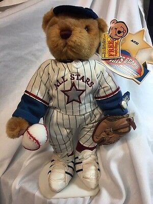 ACE Brass Button Bear Baseball Teddy Bear Sports Bear with Tags with stand
