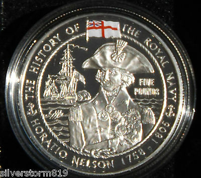 GUERNSEY  2003 Horatio Nelson Royal Navy Five Pounds Silver Proof Crown Coin