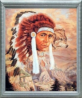 Indian Chief with Wolf Native American Espresso Wall Art Framed Picture 20x24