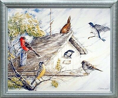 Birds At Birdhouse Wild Animal Nature Art Print Framed Wall Decor Picture 20x24