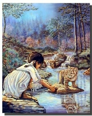 Indian Girl with Cub Native American Wall Decor Art Print Poster (16x20)