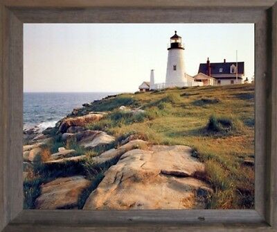Pemaquid Lighthouse Ocean Cliff Landscape Nautical Wall Art Decor Framed Picture