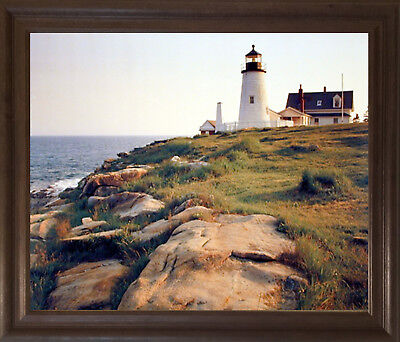 Pemaquid Lighthouse Ocean Cliff Landscape Nautical Framed Wall Art Decor Picture