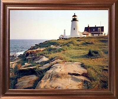 Pemaquid Lighthouse Ocean Cliff Landscape Nautical Wall Mahogany Framed Picture