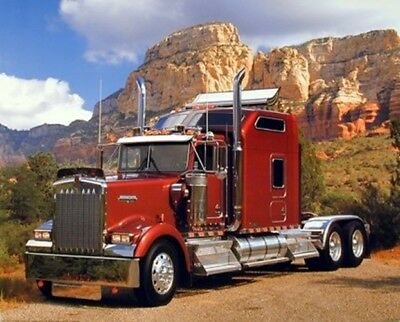 Maroon Kenworth Semi Big Rig Diesel Truck Wall Decor Art Print Picture (8x10)