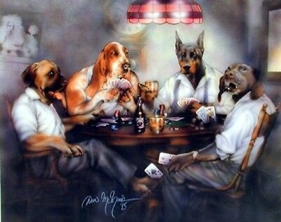Funny Dogs Playing Poker Cards Animal Kids Room Wall Decor Art Print (8x10)