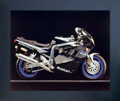 Suzuki GSXR 750 Ron Kimball Sports Motorcycle Wall Decor Espresso Framed Picture