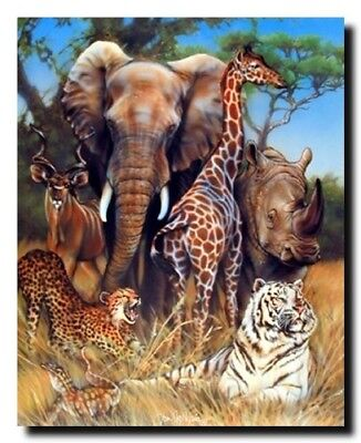 Wall Decor Zoo Exotic Collage (Giraffe, Rhino, Elephant And Tiger) Animal 16x20