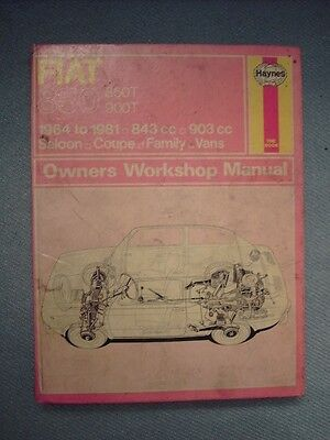 Haynes Workshop Manual  For Fiat 850 Series Including 850T & 900T Vans 1964 - 81