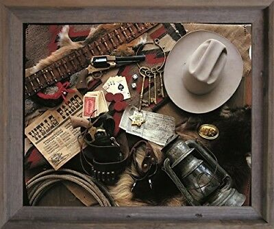 Western Cowboy Dinner Wall Decor Barnwood Framed Picture Art Print 19x23