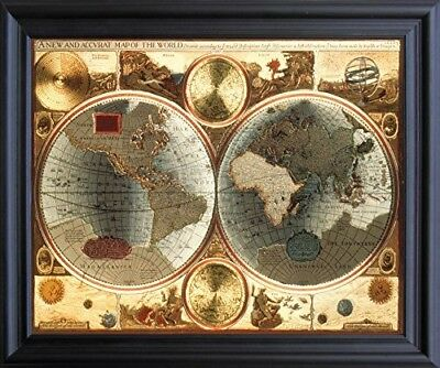 A New and Accvrat Map of the World Vintage Wall Decor Black Framed Picture 19x23