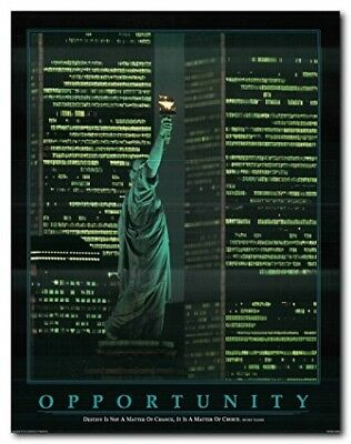 New York City At Night Statue of Liberty Between Twin Towers Art Print (22x28)
