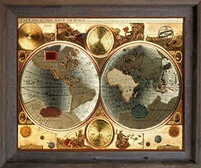 A New and Accvrat Map of the World Vintage Wall Decor Barnwood Framed (19x23)