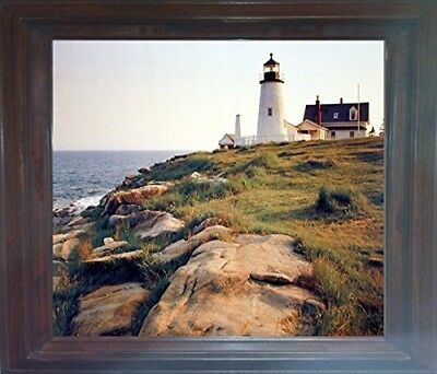 Pemaquid Lighthouse Ocean Cliff Landscape Nautical Wall Art Brown Framed Picture