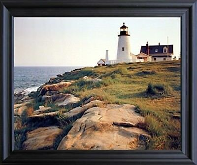 Pemaquid Lighthouse Ocean Cliff Landscape Nautical Wall Decor Framed Picture