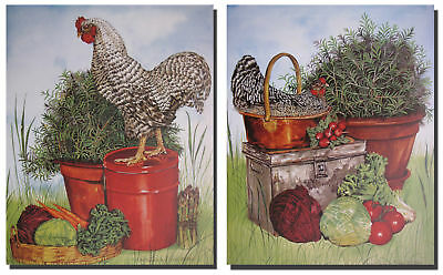 Chicken Rooster Barred Plymouth Rock Kitchen Two Set Wall Decor Art Print (8x10)