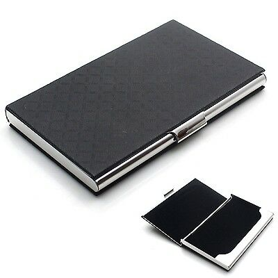 Rerii Business Card Holder Leather Surface Stainless Steel Business Card Case...