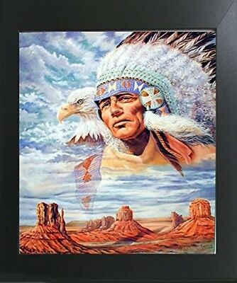 Watercolor Indian Native American Wall Decor Mahogany Black Picture Framed 20x24
