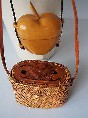 Lot 2 Purses~Nantucket Type Woven Straw Basket Leather~Apple Shape Carved Wood