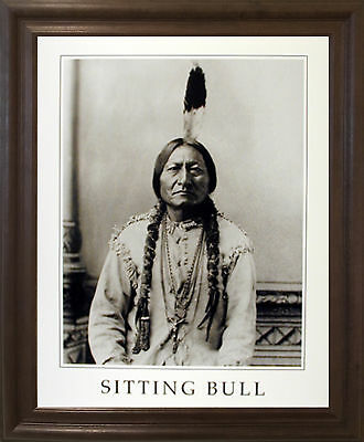 SITTING BULL NATIVE American Indian Chief Wall Brown Framed Art ...
