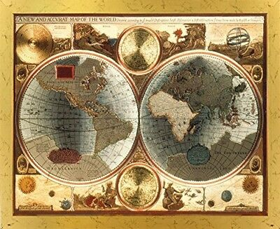 A New and Accvrat Map of the World Vintage Wall Decor Art Golden Framed Picture