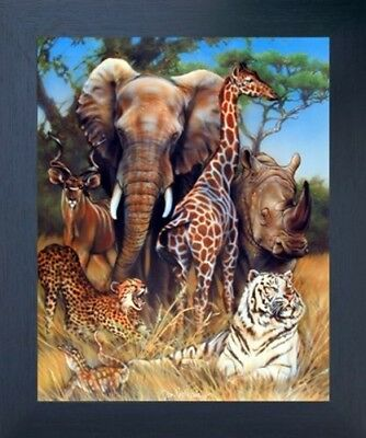 Zoo Exotic Collage Giraffe Rhino & Elephant African Safari Animal Framed Picture