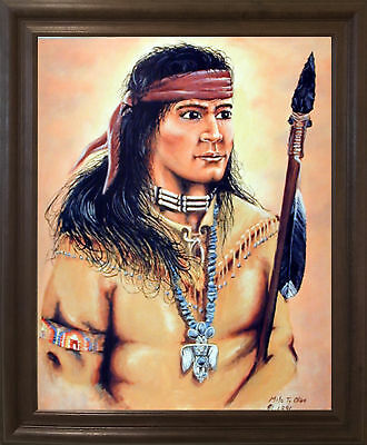 Native American Indian Brave Warrior Wall Decor Barnwood Framed Picture 19x23