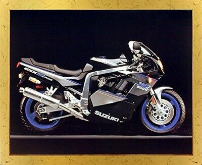 Suzuki GSXR 750 Ron Kimball Sports Motorcycle Wall Decor Golden Framed Picture