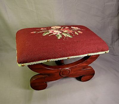 Antique Old Walnut Dark Red with Red & Pink Floral Wool Needlepoint Foot Stool