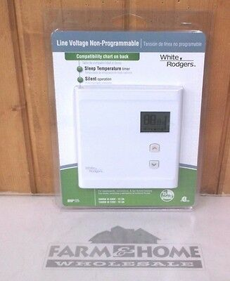 Thermostat ~ Non-Programmable ~ Line Voltage ~ White ~ New ~ Free Shipping