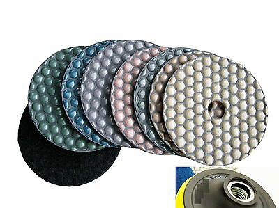 Diamond Polishing Pads 4 inch Dry 16+1 Piece & Backer Pad Granite Concrete Stone