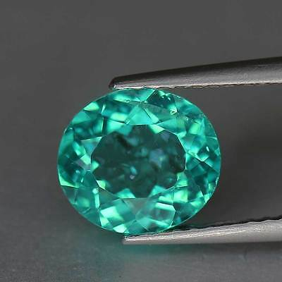 "1.77 Cts""Madagascar"" Paraiba Greenish Blue"" Natural Apatite"" Oval Cut"" PR1659"