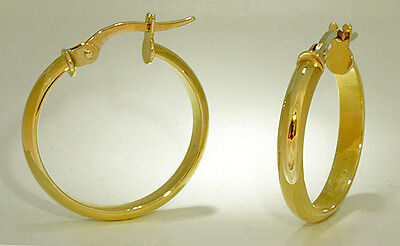 Classic Half Round Tubular Hoop Earrings 18k Yellow Gold 3x20mm