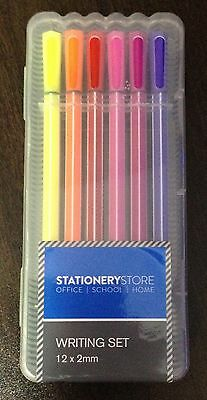 Stationery Store Writing Set - 12 Multicoloured Pens (2mm) in Plastic Carry Case