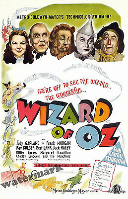 Wall Art - Wizard of Oz Movie Poster 1939  11x17 inches