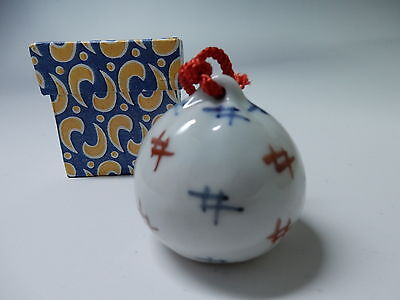 Japanese Vintage Porcelain Bell Good Luck Charm Hand Made W 4.5cm 1.75""