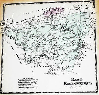 East Fallowfield Township Chester Co 1873 Genuine Antique Color Map Modeville