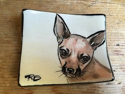 Chihuahua Terrier Dog Ceramic Handpainted Jewelry Ring Tray