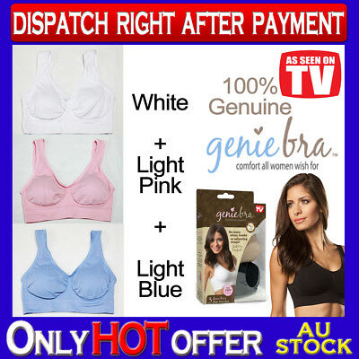 Genuine Genie Bra Comfort Support Seamless S to 3XL Light Blue Light Pink White