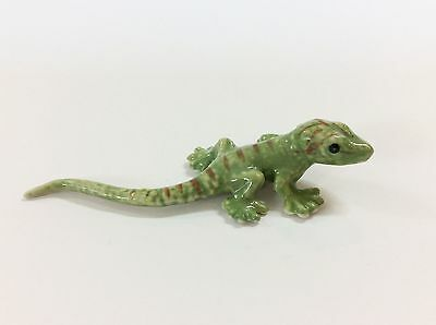 Porcelain Miniatures Collectible Ceramic Green Gecko FIGURINE