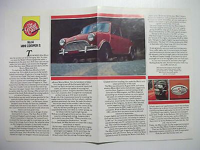 Wheels The Great Cars Series No.14 Mini Cooper S Poster & History Article